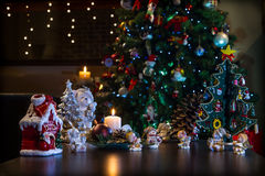 Christmas decorations and Christmas tree Royalty Free Stock Photography