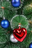 Christmas decorations on a Christmas tree Royalty Free Stock Photography