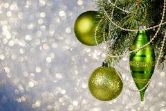 Christmas Decorations on a Christmas Tree Stock Photos