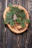 Christmas decorations Christmas tree and spruce branches/ festive arrangement Stock Photography
