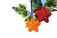 Christmas decorations on a Christmas tree Stock Photography