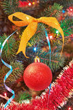 Christmas Decorations on a Christmas Tree. Royalty Free Stock Photos