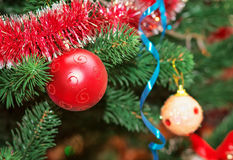 Christmas Decorations on a Christmas Tree. Royalty Free Stock Photo