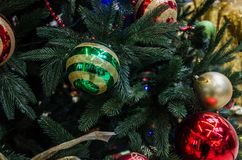 Christmas decorations on Christmas trees and lights stock image