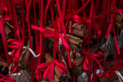Christmas decorations with cinnamon bars Royalty Free Stock Images