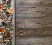 Christmas decorations with cinnamon and dried orange slices Stock Photo