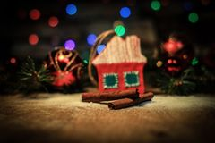 Christmas decorations and cinnamon sticks on a festive backgrou Royalty Free Stock Images