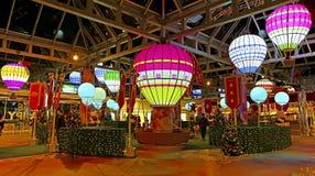 Christmas decorations at cityplaza, hong kong. Attractive christmas decorations with colorful balloons at cityplaza mall in hong kong Stock Images