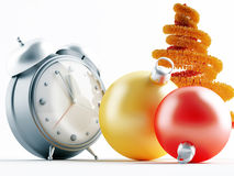 Christmas decorations and clock Stock Photography
