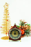 Christmas decorations and clock Royalty Free Stock Photo