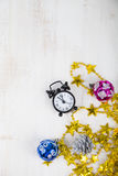 Christmas decorations and clock Stock Images