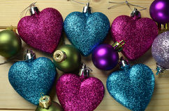 Christmas decorations. Close view of shinning  and colorful Christmas decorations Stock Image