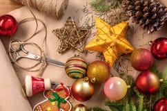 Christmas decorations closeup, prepare for winter holidays background Stock Photos