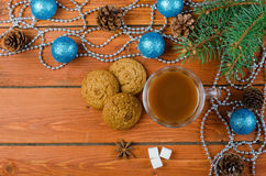 Christmas decorations and cocoa on a wooden table. Stock Photo
