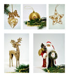 Christmas decorations collage. Xmas collage of five photos Stock Photography