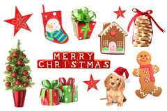 Christmas decorations collage Stock Image