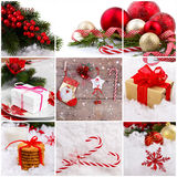 Christmas decorations collage. For greetings card or background Royalty Free Stock Photography