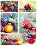 Christmas decorations collage.New Year ornament set. Collage of christmas icons. New Year decorations set.Different xmas baubles ornament royalty free stock photography