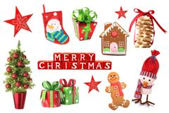 Christmas decorations collage stock photos