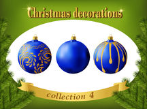 Christmas decorations. Collection of blue glass balls Royalty Free Stock Image