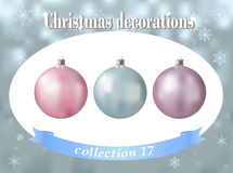 Christmas decorations. Collection of light blue, pink and lilac Stock Photo