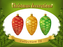 Christmas decorations. Collection of  red, gold and green cones Stock Photography