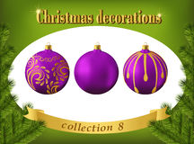 Christmas decorations. Collection of violet glass balls Royalty Free Stock Image