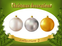 Christmas decorations. Collection of white, silver and golden gl Stock Image
