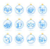 Christmas decorations. The collection of christmas decorations with zodiac signs Royalty Free Stock Photography