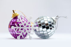 Christmas decorations - colorful balls on white background Stock Photos