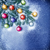 Christmas decorations colorful baubles snow blue Royalty Free Stock Photos