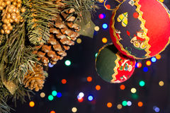 Christmas decorations. The Colorful decorations for the Christmas tree Royalty Free Stock Images