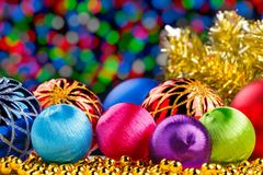Christmas decorations on bokeh lights background Stock Photos