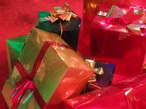 Christmas decorations colourful wrapped presents royalty free stock image