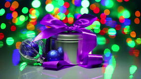 Christmas decorations composition with fancy box Stock Images