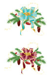 Christmas decorations. The composition of fir branches with cones, berries and bow Royalty Free Stock Images
