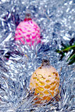 Christmas decorations Cone in pink and gold royalty free stock photography