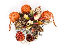 Christmas decorations - cones, bomblets Royalty Free Stock Photography