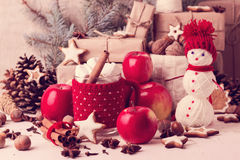 Christmas decorations - cookies, apples, spices. Cozy rustic Chr Royalty Free Stock Photo