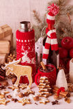 Christmas decorations - cookies, apples, spices, mulled wine. Co Royalty Free Stock Images