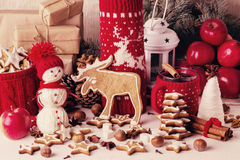Christmas decorations - cookies, apples, spices, mulled wine. Co Stock Images