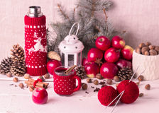 Christmas decorations - cookies, apples, spices, mulled wine. Co Stock Photo