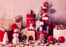Christmas decorations - cookies, apples, spices, mulled wine. Co Royalty Free Stock Photography