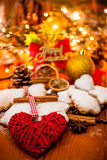 Christmas decorations. With cookies, cinnamon, vanilla stick and others stock image