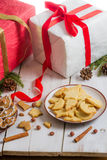 Christmas decorations and cookies Gift Royalty Free Stock Images