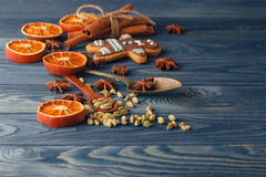 Christmas decorations, cookies and spices. Holidays food ingredi Stock Images