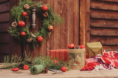 Christmas Decorations At Cozy Wooden Country House Outdoor Setting On Table Royalty Free Stock Photos