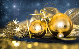 Christmas decorations on dark abstract background Stock Photo