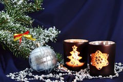 Christmas decorations on dark blue royalty free stock photography