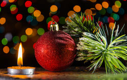 Christmas decorations in dark Stock Images